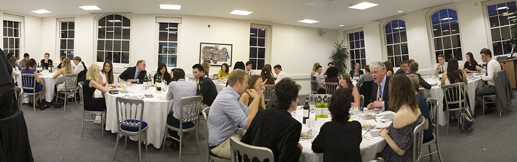Newcomers to the Centre for Journalism enjoy their traditional welcome dinner in the Rochester Building